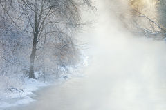 Winter, Kalamazoo River in Fog Royalty Free Stock Photography
