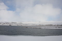 Winter at Kaldbakur lakes. Stock Image