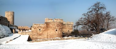 Winter in Kalemegdan. Kalemegdan fortess is the oldest part of Belgrade. Main gate is in front of highest tower in fortress stock images