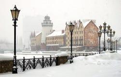 Winter Kaliningrad. Snow falls and covers her protection embankment Kaliningrad Royalty Free Stock Photo