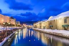 Winter-Kanal Otarus, Japan lizenzfreies stockbild