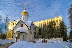 Winter-Kapelle in Ukhta, Russland lizenzfreie stockbilder