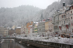Winter in Karlovy Vary. The embankment of the Tepla River in Karlovy Vary, Czech Republic, in winter royalty free stock image