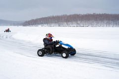 Winter karting competition Royalty Free Stock Photos