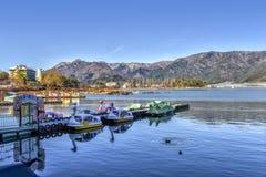 Winter kawaguchiko lake in Japan. Shoot from lake royalty free stock images