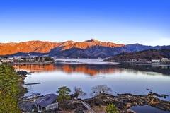 Winter kawaguchiko lake in Japan. Shoot from lake side royalty free stock photo