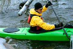 Winter kayaking on the river in Ukraine 07 Royalty Free Stock Image