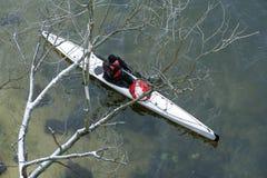 Winter kayaking on the river in Ukraine 18 Stock Image