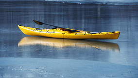 Winter kayaking in ukraine Stock Photography