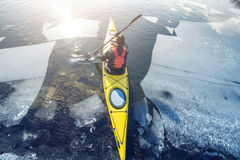 Winter kayaking in ukraine Royalty Free Stock Image