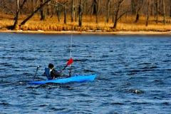 Winter Kayaking in Wisconsin Royalty Free Stock Image