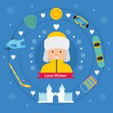 Winter kid activity flat icon banner. Boy in winter outfit. Royalty Free Stock Images