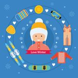 Winter kid activity flat icon banner. Girl in winter outfit. Stock Photography