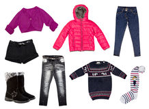 Winter kid's clothes collage.Isolated. Royalty Free Stock Image