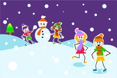 Winter kids Royalty Free Stock Image
