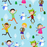 Winter kids background Stock Photo
