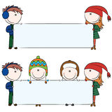 Winter kids with blank banners Royalty Free Stock Image