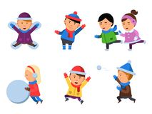 Winter kids clothes. Characters playing games in action poses cheering collection smile people snow boots cartoon flat vector illustration