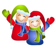 Winter Kids Friends Waving. A clip art illustration of a pair of kids wearing winter clothes and waving with arms around each other. Isolated on white Royalty Free Stock Images