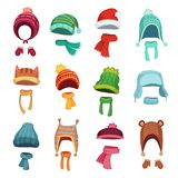 Winter kids hat. Warm childrens hats and scarves. Headwear and accessories for boys and girls cartoon vector set vector illustration
