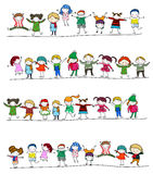 Winter kids. Illustration of group of winter kids Stock Image