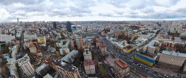 Winter in the Kiev, aerial view of Khreschatyk street Royalty Free Stock Photography