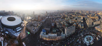 Winter in the Kiev city, aerial view Stock Image
