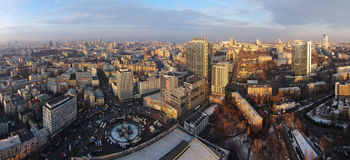 Winter in the Kiev city, aerial view Stock Images