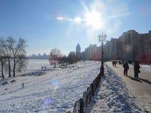 Winter in Kiev. Obolon area, river Dnepr Stock Image
