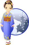 Winter kimono girl. Cute and kawaii winter kimono girl at anime style vector illustration