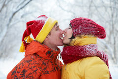 Winter kiss Stock Photos