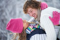 Winter kiss Stock Photo