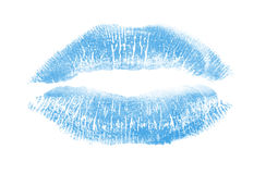 Winter kiss. Print of a blue lipstick on pure white background Royalty Free Stock Photos