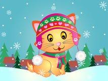 Winter Kitty Vector Illustration Royalty Free Stock Image