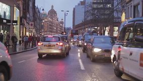 Winter Knightsbridge London stock footage