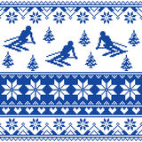 Winter knit pattern - man skiing - white and navy blue background Royalty Free Stock Image