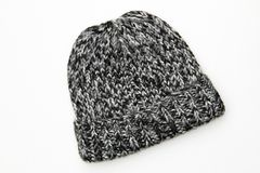 Winter Knit Wool Black Gray White Hat Beanie. Women's Winter Knit Wool Black Gray White Hat Beanie isolated on white background Royalty Free Stock Photography