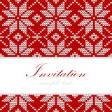 Winter knitted christmas card, nordic pattern,  background illustration Stock Image