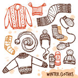 Winter Knitted Clothes Set Stock Images
