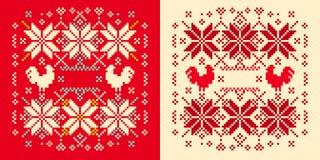 Winter knitted cockerel pattern Stock Photo