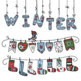 Winter knitted letters,checkbox,socks Stock Photos