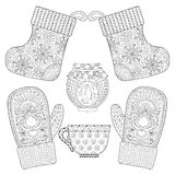 Winter knitted mittens, socks, cup of tea, jam in zentangle  Royalty Free Stock Photo