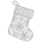 Winter knitted Sock for gift from Santa in zentangle style.  Royalty Free Stock Photography