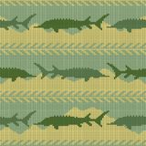 Winter Knitted woolen seamless pattern with sturgeons. Yellow sand and green water. Knitted woolen seamless pattern with sturgeons. Yellow sand and green water Stock Image