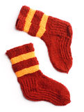 Winter knitted woolen socks. Isolated Stock Photography