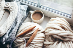 Winter Knitting By The Window Stock Photos