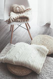 Winter knitting by the window Royalty Free Stock Photos