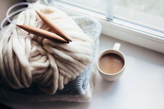 Winter knitting by the window Royalty Free Stock Photo