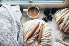 Winter knitting by the window Stock Image