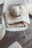 Winter knitting by the window Stock Photography